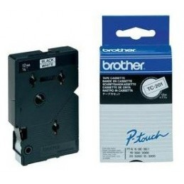 Brother Gloss Laminated Labelling Tape - 12mm, Black White, 10-pk nastro per etichettatrice TC
